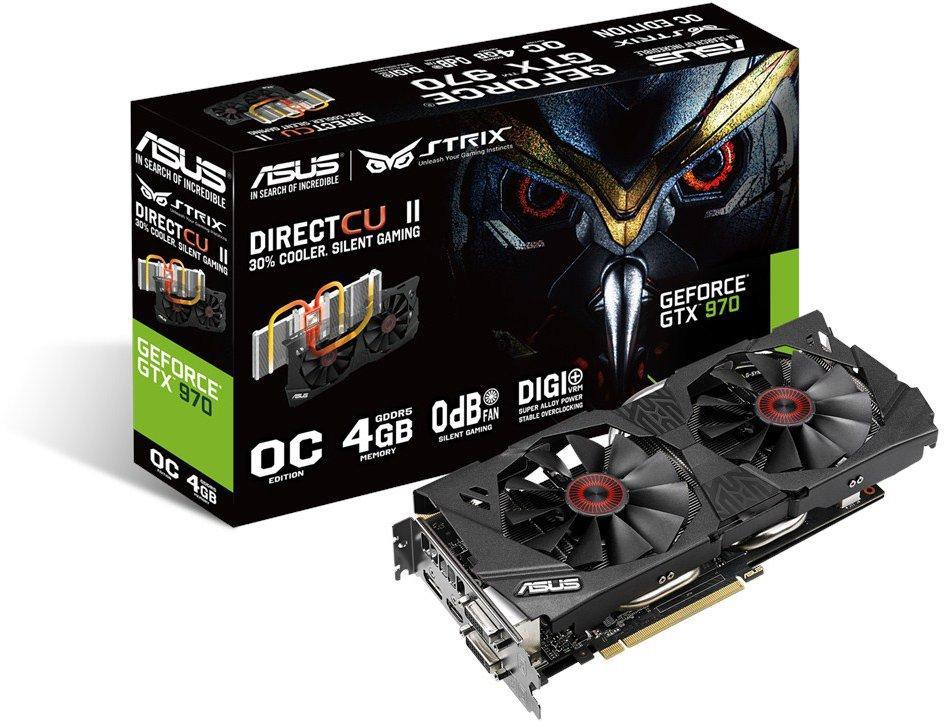 Купить Видеокарта Asus GeForce GTX 970 1114Mhz PCI-E 3.0 4096Mb 7010Mhz 256 bit 2xDVI HDMI HDCP (STRIX-GTX970-DC2OC-4GD5) фото 1