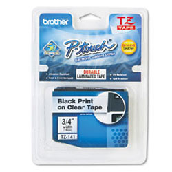 Картридж TZ141 для термопринтера P-Touch с лентой 18 мм, черный на прозрачном TZ141