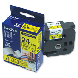 Картридж TZ651 для термопринтера P-Touch с лентой 24 мм, черный на желтом TZ651